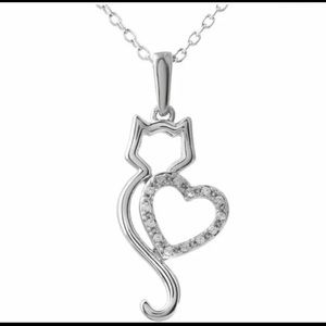 Cute Silver Heart Cat Crystal Fashion Necklace
